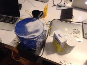 bucket with sugar and salt